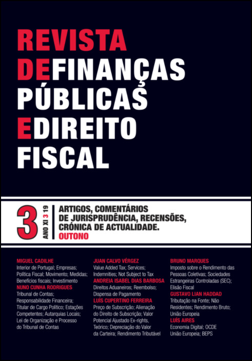 Revista de Finanças Públicas e Direito Fiscal - Ano XI - Número 3 - Outono