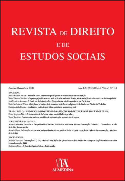 Revista de Direito e de Estudos Sociais, Janeiro-Dezembro 2020 - Ano LXI (XXXII da 2.ª Série) N 1-4