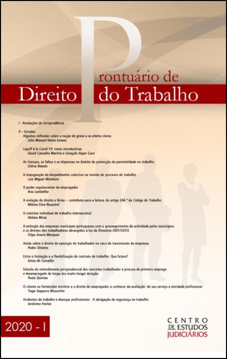 Prontuário de Direito do Trabalho I 2020